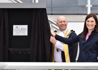 Nicolle Flint unveiling plaque